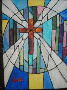 Stained Glass Painting of Cross