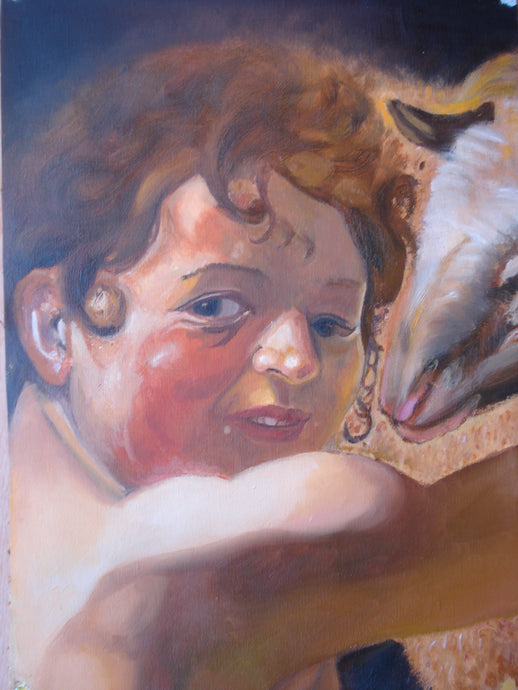 Replica of  Caravaggio's Child with Ram  OIL/PRINT