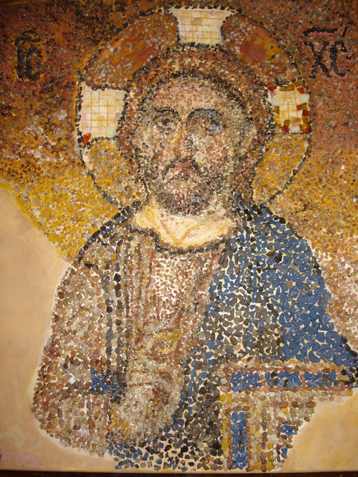 12th Century Byzantine Icon of Christ the Rock/Image made with tiny Rocks/Print