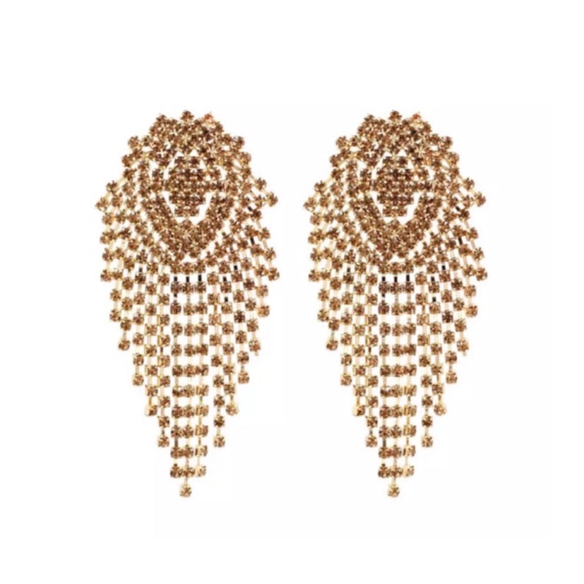 Kat Gold statement tassel earrings