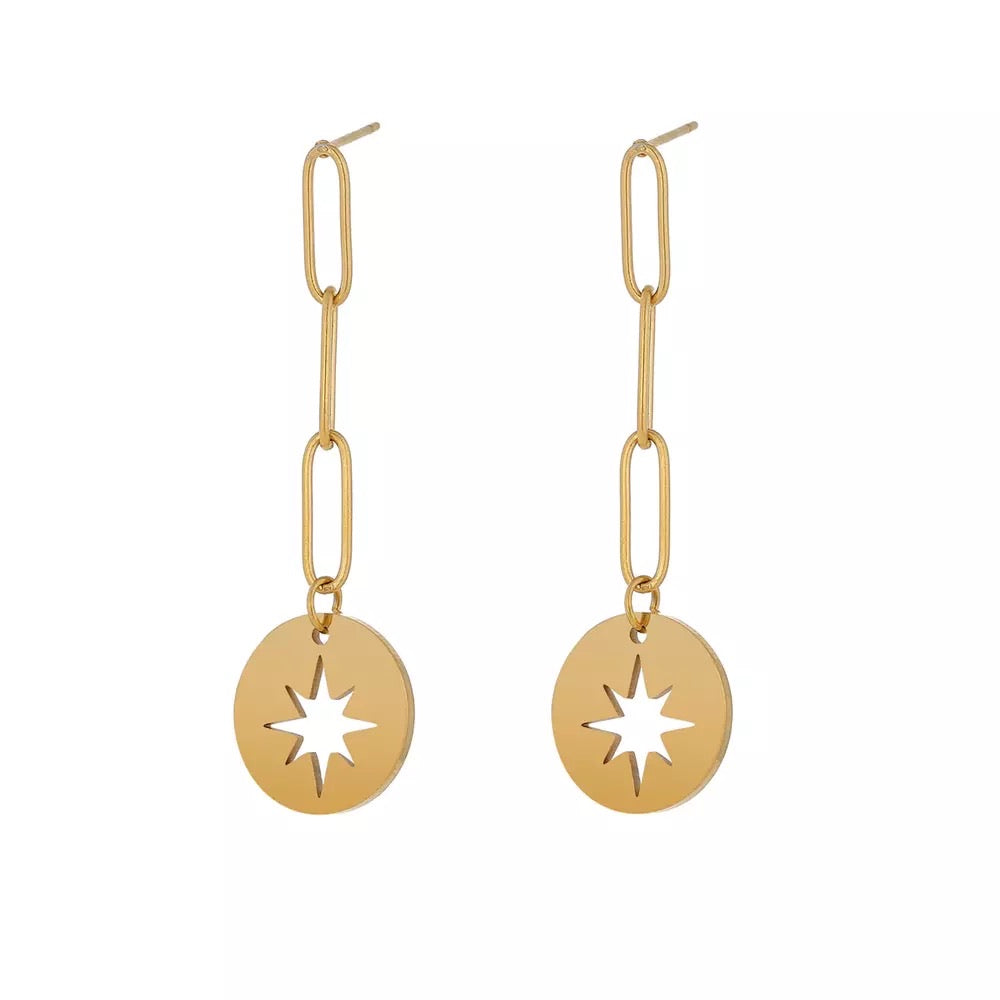 Star drop Gold earrings
