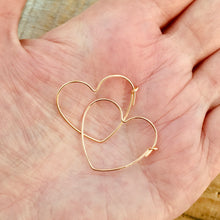 "Load image into Gallery viewer, ""Loved"" Heart Earrings, gold filled, Petite"