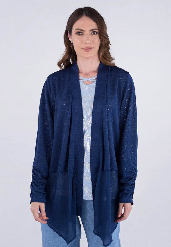 Cardigan with Sheer Trim