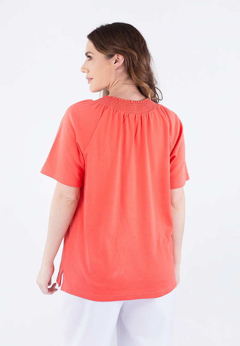Smocking Neck Embroidered Top