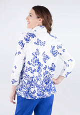 Zip Front Butterfly Print Jacket
