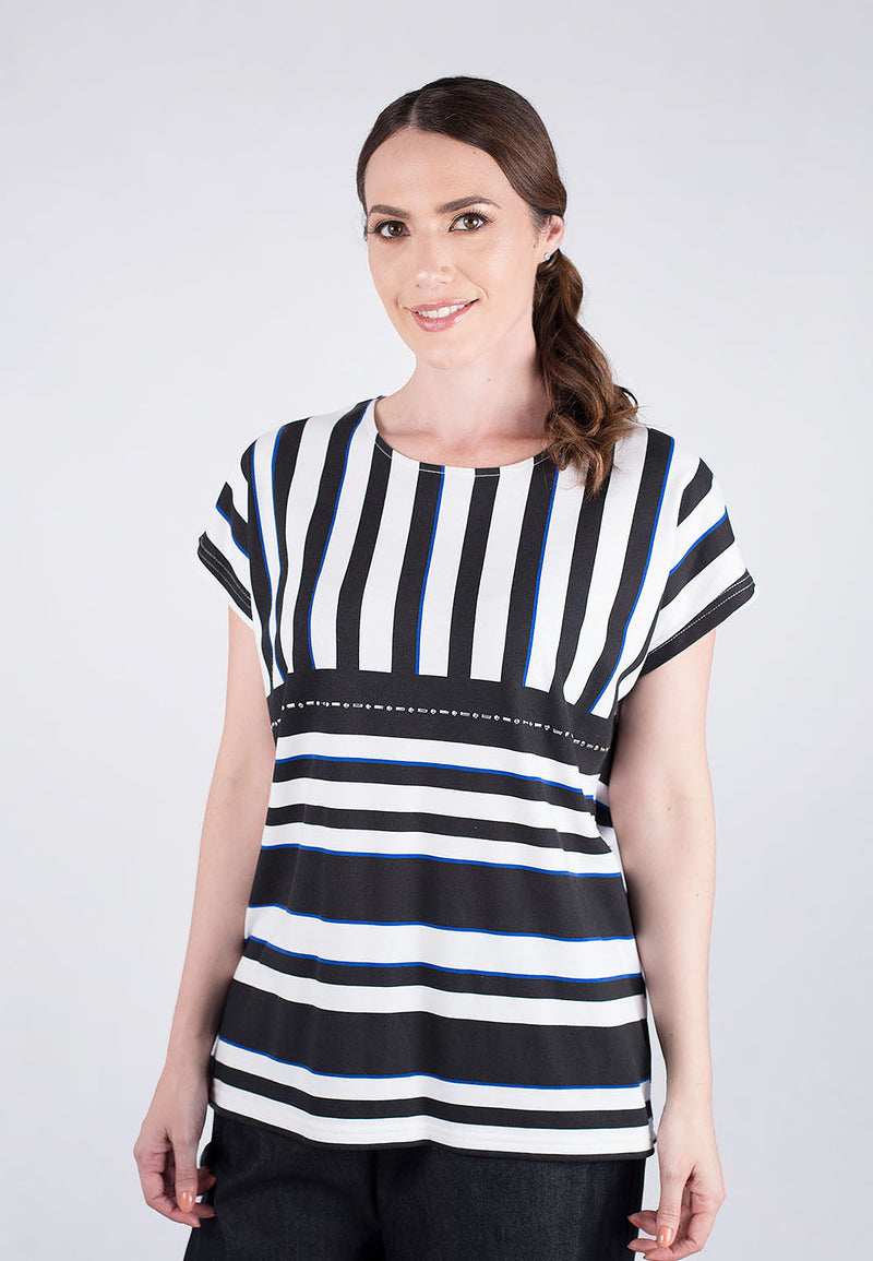Printed Stripe Dolman Sleeve Top