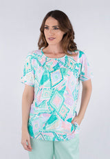 Short sleeve jewel neck printed top