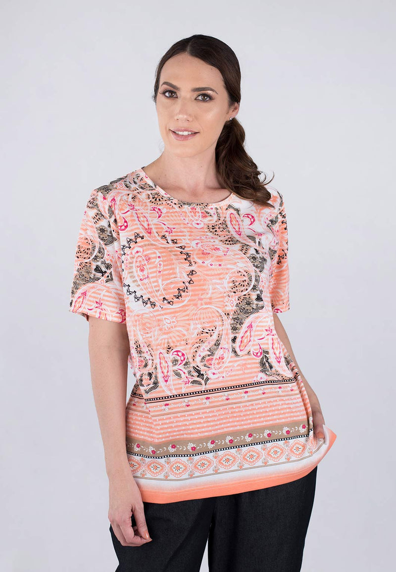 Short Sleeve Jewel Neck