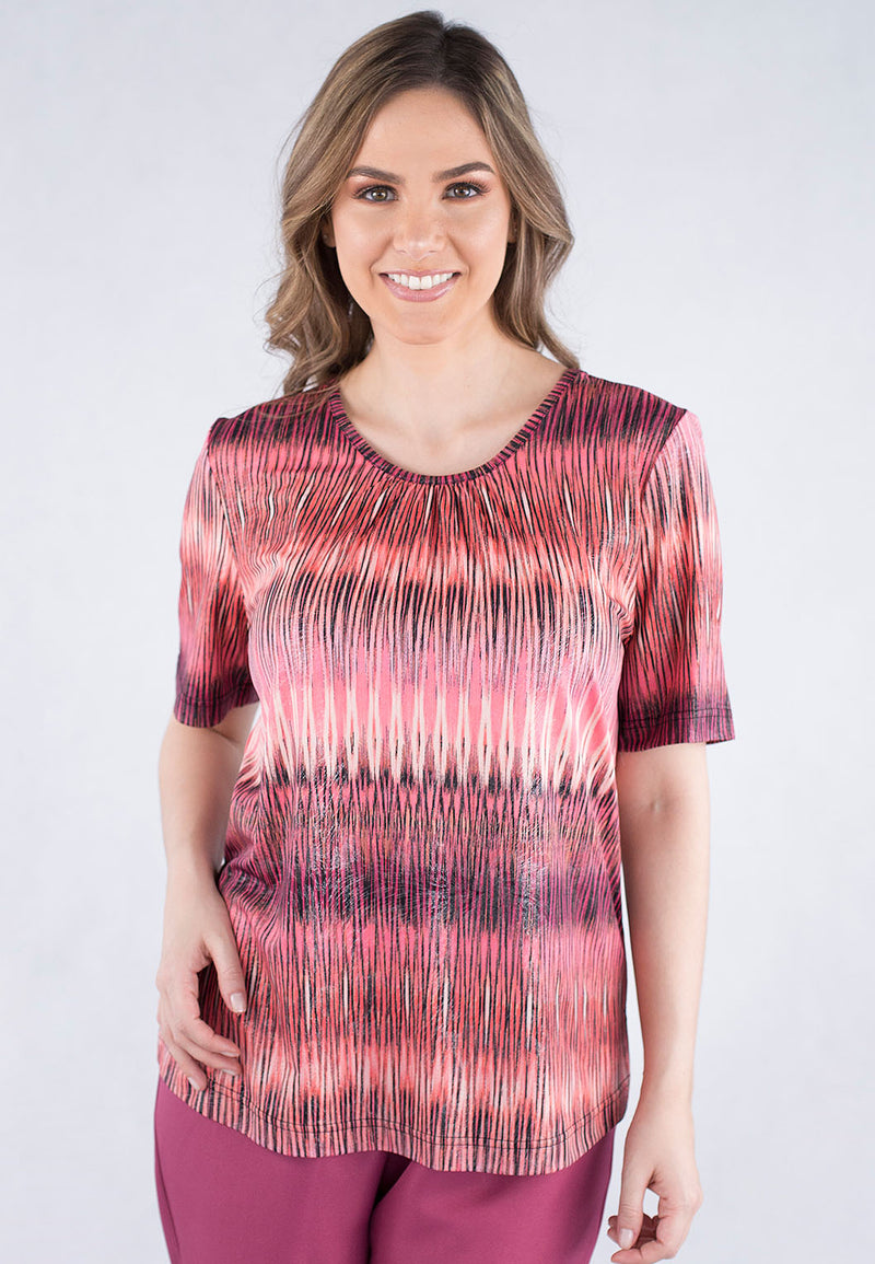 Short Sleeve Ruched Neck Printed Top