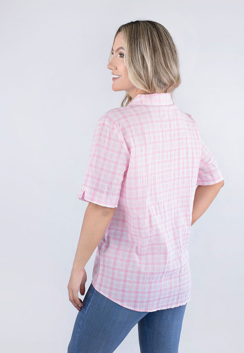 Short Sleeve Checked Blouse.