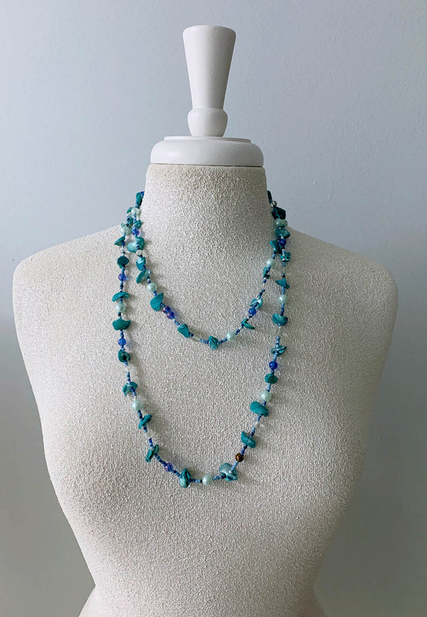 Ocean Blues Shell and Bead Long Necklace