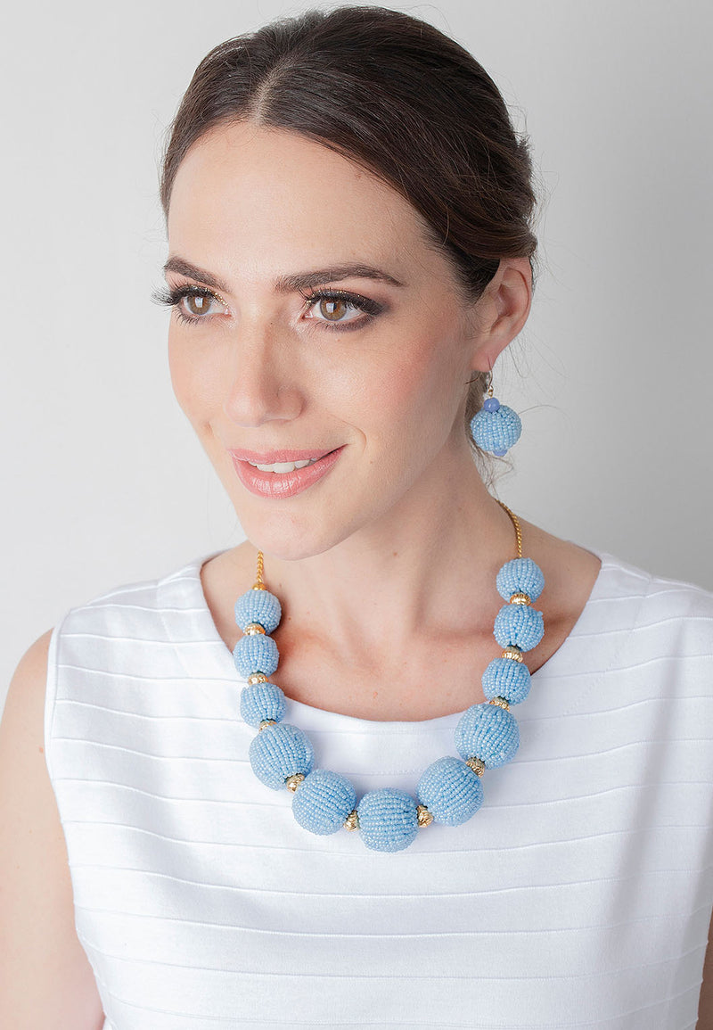 Seed Bead Short Necklace and Earring Set