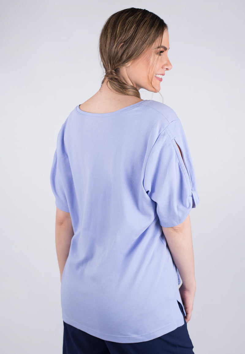 Short Sleeve Jewel Neck Top
