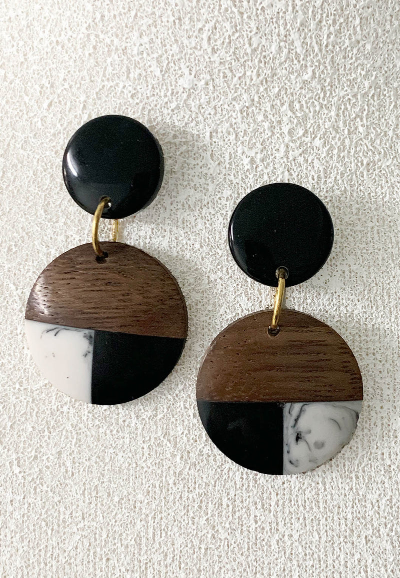 Wood and Resin Post Earrings