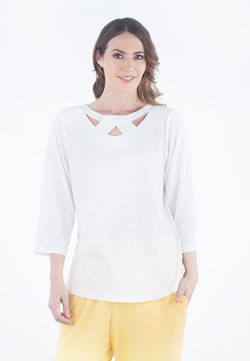 Gauze Knit Novelty V-Neck Top