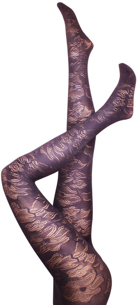 Hibiscus Black Tights