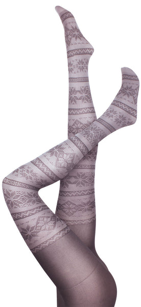 Snowflake Grey Tights