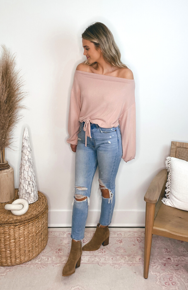 Florida Winter Dusty Pink Sweater Top
