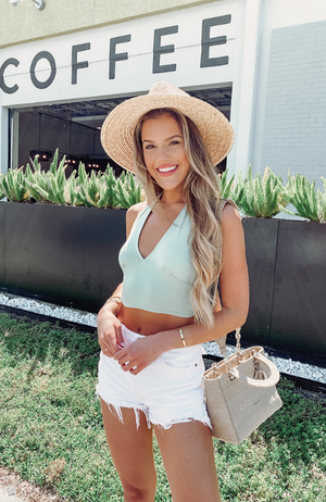 Sea Breeze Sage Crop Top