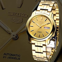 Seiko 5 Classic Mens Size Gold Dial & Plated Stainless Steel Strap Watch SNKK76K1 - Diligence1International