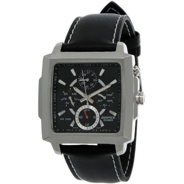 Casio Edifice Rectangle Black Dial Men's Tough Leather Strap Watch EF-324L-1AV - Diligence1International