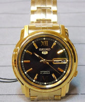 Seiko 5 Classic Mens Size Black Dial Gold Plated Stainless Steel Strap Watch SNKK86K1 - Diligence1International