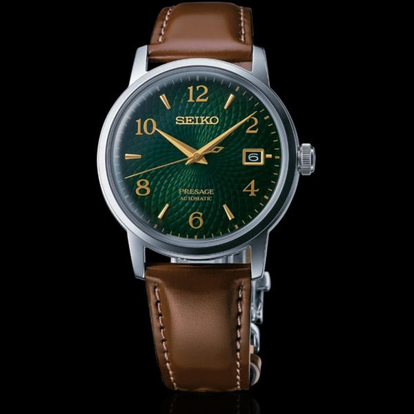 Seiko Presage Cocktail Time Mojito Green Men's Leather Strap Watch SRPE45J1 - Diligence1International