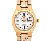 Seiko 5 Classic Ladies Size White Dial Gold Plated Stainless Steel Strap Watch SYMA22K1