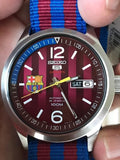Seiko 5 Sports FC Barcelona 100M Red Dial Men's Watch Nylon Strap SRP305K1