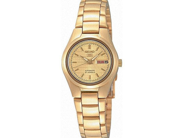 Seiko 5 Classic Ladies Size Gold Dial Gold Plated Stainless Steel Strap Watch SYMC18K1