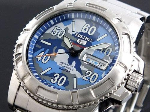 Seiko 5 Sports JAPAN Made Military 100M Camo Blue Dial Automatic Watch SRP223J1