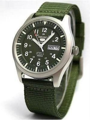 Seiko 5 Sports Military 100M Automatic Men's Watch Green Nylon Strap SNZG09K1 - Diligence1International
