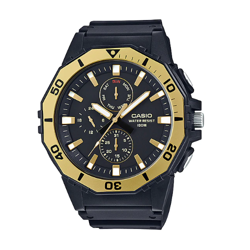 Casio MRW-400H-9AVDF Analog Black/Gold Yellow Resin Strap Watch for Men - Diligence1International