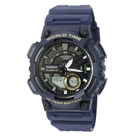 Casio AEQ-110W World Time Navy Blue Analog Digital Watch - Diligence1International