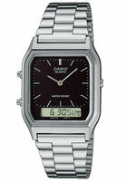Casio Classic AQ-230A-1DMQ Black Dial Silver Stainless Steel Watch - Diligence1International