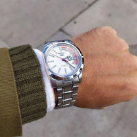 Seiko 5 Classic White Dial with Red Bar Couple's Stainless Steel Watch Set SNKK25K1+SYME39K1 - Diligence1International