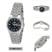 Seiko 5 Classic Ladies Size Black Dial Stainless Steel Strap Watch SYMK43K1 - Diligence1International