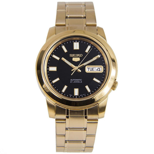 Seiko 5 Classic Mens Size Black Dial Gold Plated Stainless Steel Strap Watch SNKK22K1 - Diligence1International
