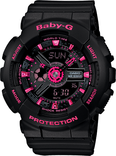 Casio Baby-G Neon Colors Anadigi Black x Pink Accents Watch BA111-1ADR - Diligence1International