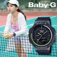 Casio Baby-G BGS Step Tracker Analog-Digital Black x Neon Green Accents Watch BGS100-1ADR - Diligence1International