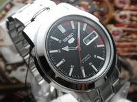Seiko 5 Classic Black Dial with Red Bar Couple's Stainless Steel Watch Set SNKK31K1+SYMD95K1 - Diligence1International