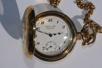 Tissot Swiss Made T-Pocket Savonnette Mechanical White Dial Gold Plated Hunter Case Pocket Watch T83.4.403.12 - Diligence1International