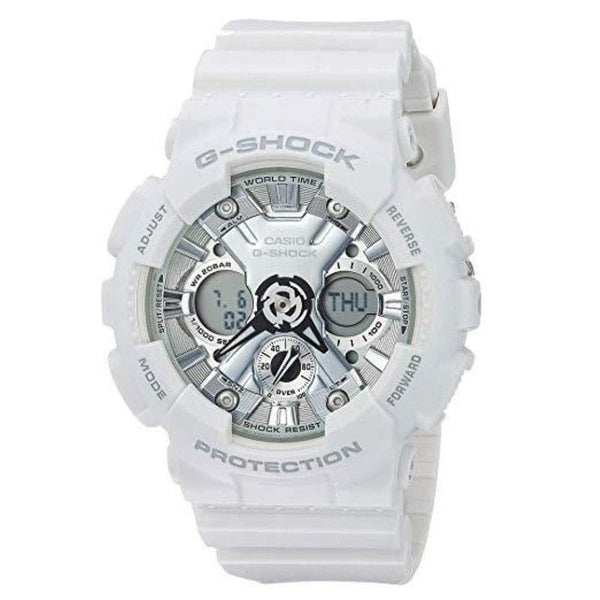 Casio G-Shock Anadigi Black Metallic Face Ladies' White Watch GMAS120MF-7A1DR - Diligence1International