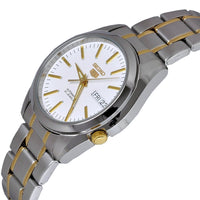 Seiko 5 Classic White Dial Couple's 2 tone Gold Plated Stainless Steel Watch Set SNKL47K1+SYME44K1 - Diligence1International