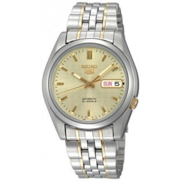 Seiko 5 Classic Mens Size Gold Dial 2 Tone Gold Plated Stainless Steel Strap Watch SNK365K1 - Diligence1International