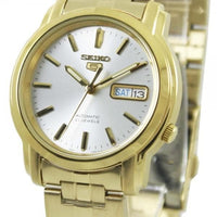 Seiko 5 Classic Mens Size Silver Dial Gold Plated Stainless Steel Strap Watch SNKK74K1 - Diligence1International