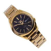Seiko 5 Classic Mens Size Black Dial Gold Plated Stainless Steel Strap Watch SNKL50K1 - Diligence1International