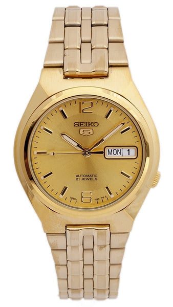 Seiko 5 Classic Mens Size Gold Dial & Plated Stainless Steel Strap Watch SNKL64K1 - Diligence1International