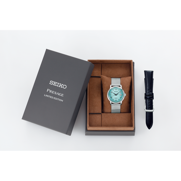 Seiko Presage Limited Edition Cocktail Time Frozen Margarita Teal Ladies' Watch Set SRPE49J1 - Diligence1International