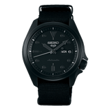 NEW Seiko 5 Sports 100M Automatic Men's Watch Stealth ALL BLACK Nylon Strap SRPE69K1 - Diligence1International